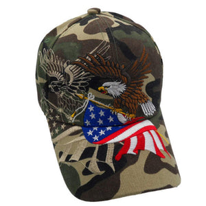 Camo American Flying Eagle Custom Embroidered Shadow Hat