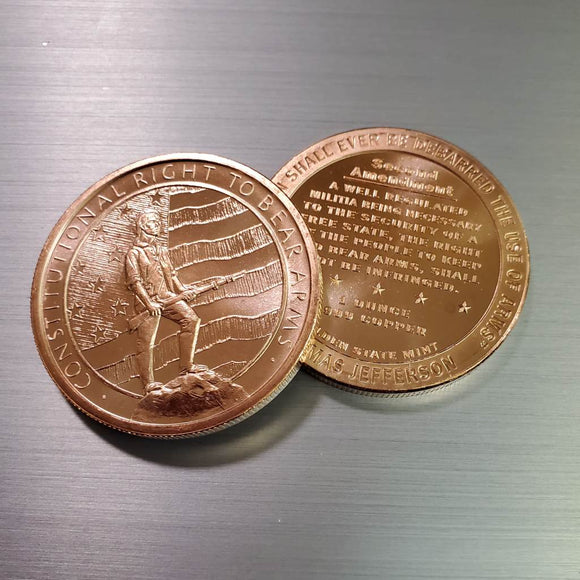 Constitutional Right to Bear Arms 2A Fine Copper Coin