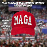 Collectors Edition: RED MAGA HAT (100% Cotton) - Flag and Cross