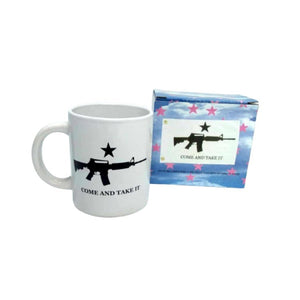 "Come and Take It 12oz White Ceramic Mug with 12""x18"" Flag - Flag and Cross"
