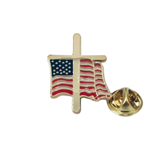 Cross and Waving Flag Enamel Pin