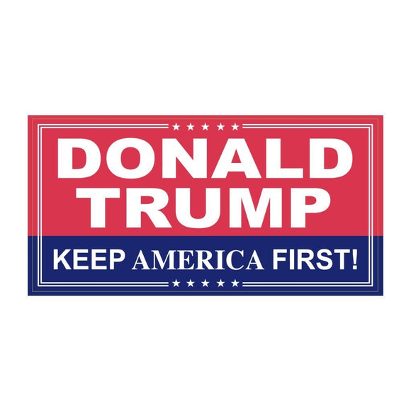 Donald Trump Keep America First Weatherproof Sticker - Flag and Cross