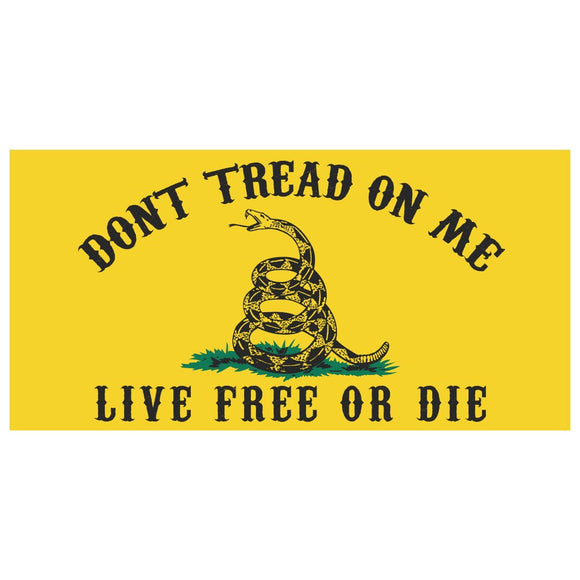 Gadsden Don't Tread on Me, Live Free or Die Weatherproof Sticker
