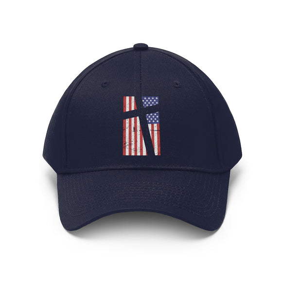 Cross in Flag Unisex Cotton Twill Hat