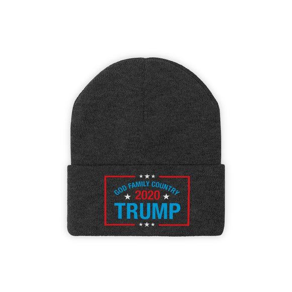 God Family Country Trump 2020 Unisex Knit Beanie (Embroidered)