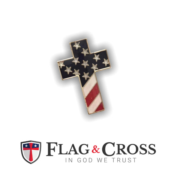 USA Cross with Flag Enamel Lapel Pin
