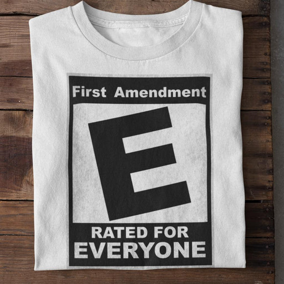 First Amendment Rated E for Everyone Unisex Heavy Cotton T-shirt