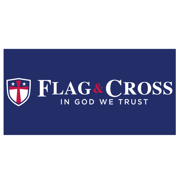 Flag & Cross In God We Trust Weatherproof Bumper Sticker
