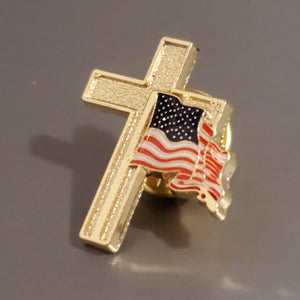 American Flag with Gold Cross Enamel Lapel Pin