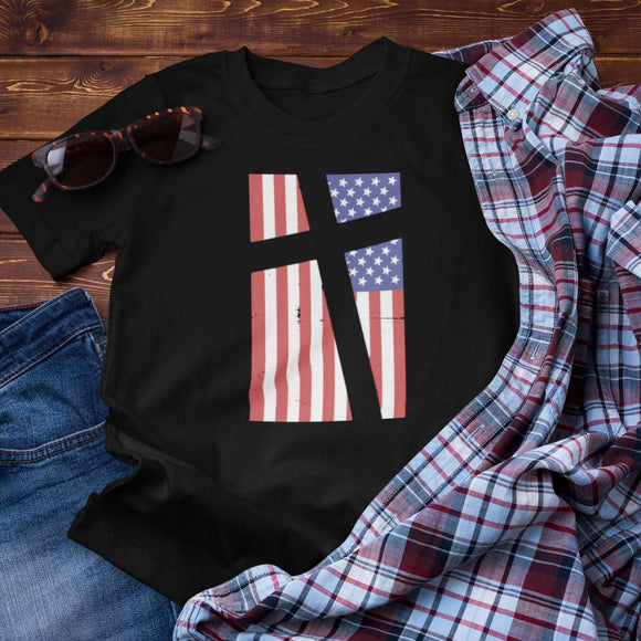 Cross in Flag Unisex Cotton T-Shirt