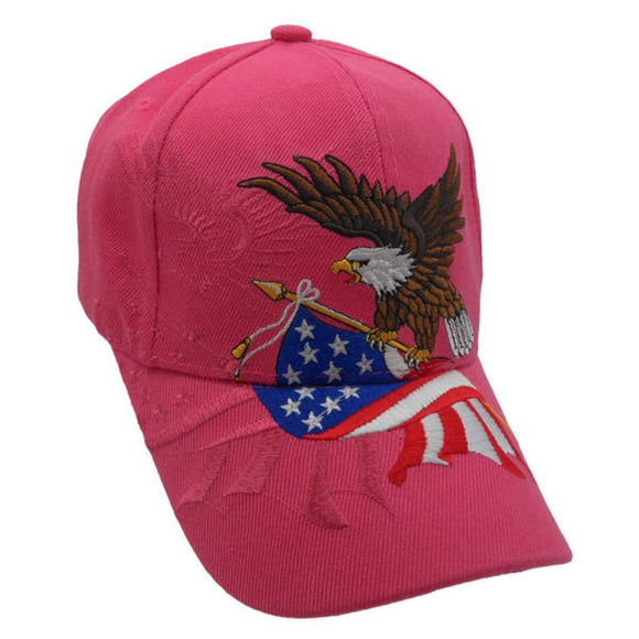 Dark Pink American Flying Eagle Custom Embroidered Hat