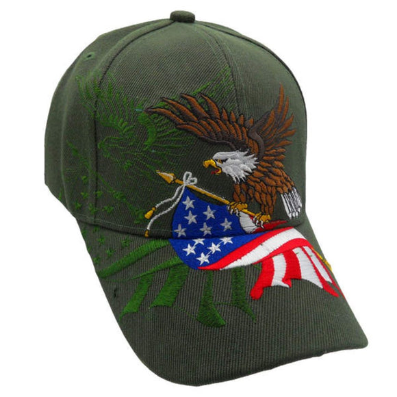 Olive American Flying Eagle Custom Embroidered Hat