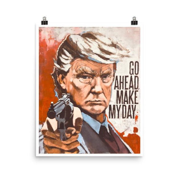 Go Ahead Make My Day Trump Poster - Flag and Cross
