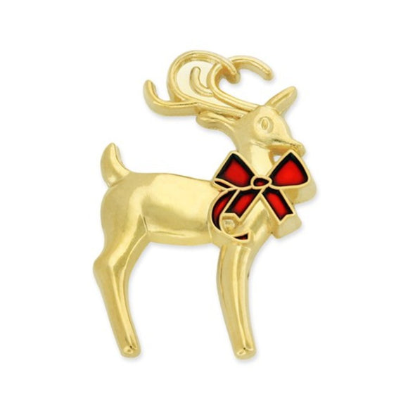 3D Pewter Reindeer Lapel Pin (Plated in Gold)