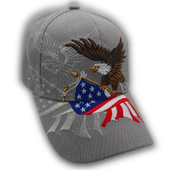 Grey American Flying Eagle Custom Embroidered Shadow Hat