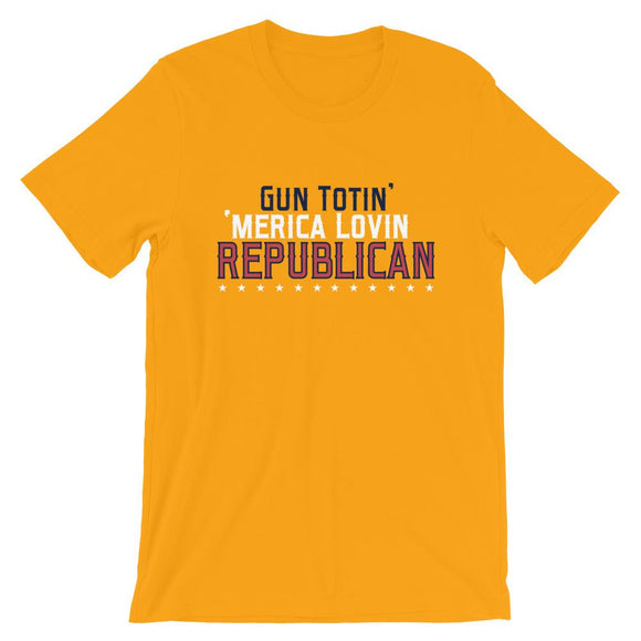 Gun Totin' 'Merica Lovin' Republican Short-Sleeve Unisex T-Shirt - Flag and Cross
