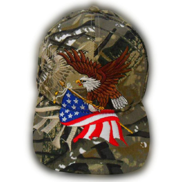 Hunting Camo American Flying Eagle Custom Embroidered Shadow Hat