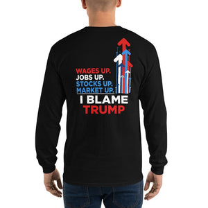 I Blame Trump Men's Long Sleeve Shirt - Flag and Cross