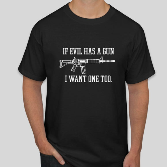 If Evil Has A Gun I Want One Too Short-Sleeve Unisex T-Shirt - Flag and Cross