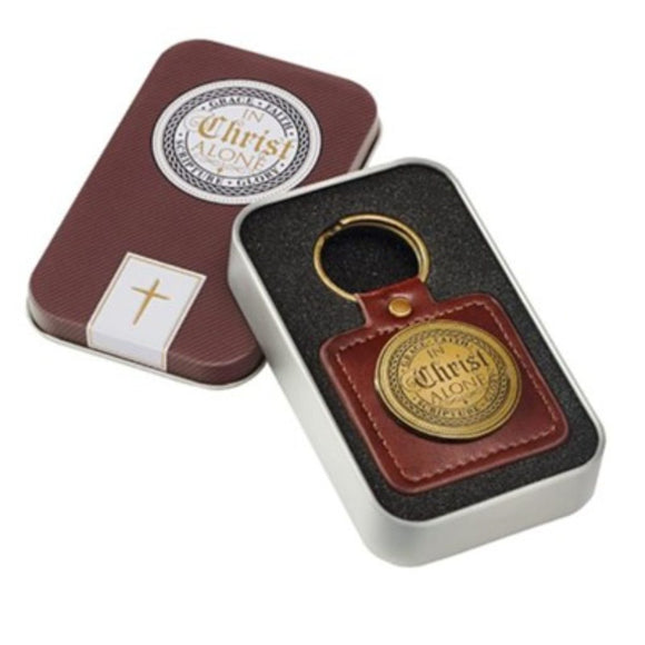 In Christ Alone Ephesians 2:8 Keychain (Faux Leather w/ Gift Tin)