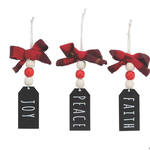 Joy Peace Faith Beaded Wooden Ornament (3 Pack)