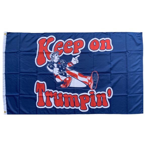 Keep on Trumpin' Retro Blue 3'x5' 100D ROUGH TEX® Flag