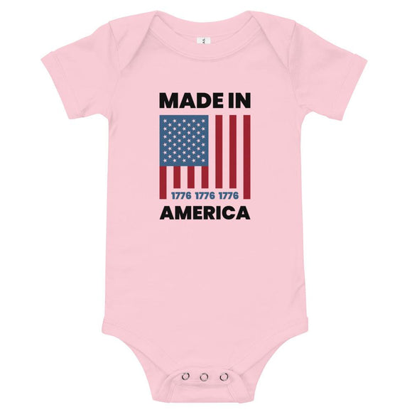 Made In America Onesie - Flag and Cross