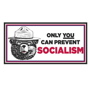 MAGA BEAR Only You Can Prevent Socialism Weatherproof Bumper Sticker - Flag and Cross