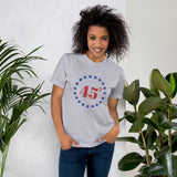 Trump 45 (squared) Cotton Unisex T-Shirt (3 Designs, 10 Colors)