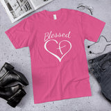 Blessed Cross In Heart Cotton Unisex T-Shirt (Made in the USA)
