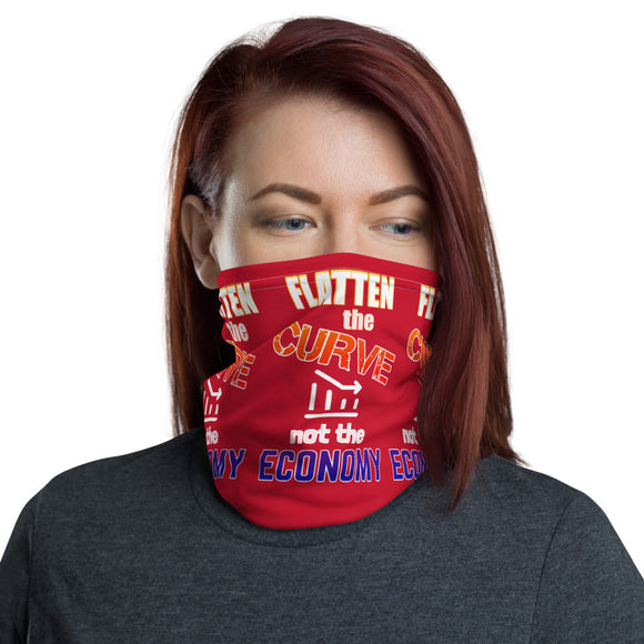 Flatten the Curve not the Economy Red Face and Neck Gaiter