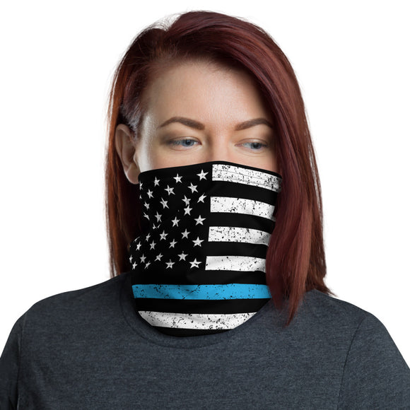 Thin Blue Line Distressed Face and Neck Gaiter