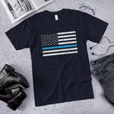 Distressed Thin Blue Line Unisex Cotton T-Shirt