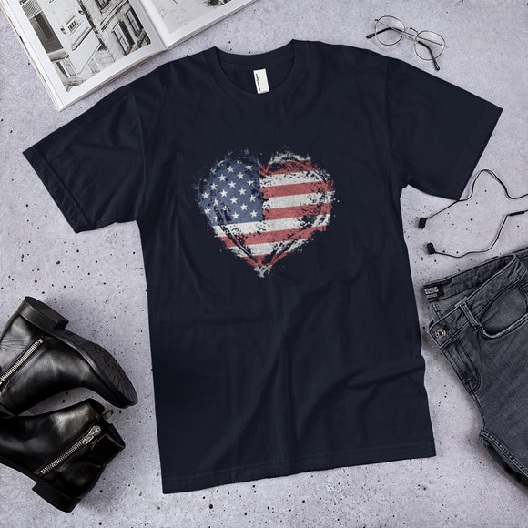 Heart of a Patriot American Flag Cotton Unisex T-Shirt