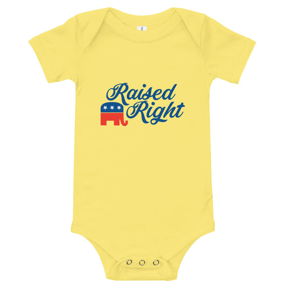 Raised Right GOP Elephant Baby Onesie