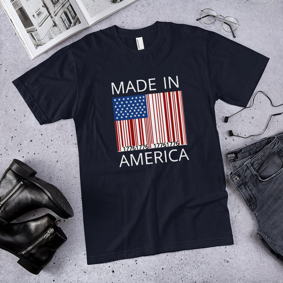Made in America 1776 Barcode Unisex Cotton T-Shirt