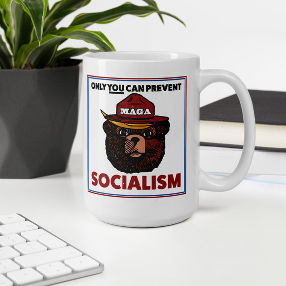 Maga Bear Only You Can Prevent Socialism 15oz Ceramic Mug