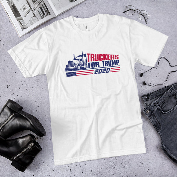 Truckers for Trump 2020 Patriotic Cotton Unisex T-Shirt (Made in the USA)