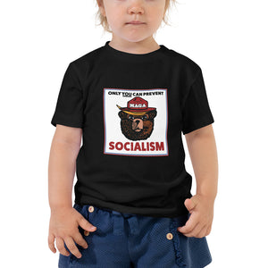 MAGA Bear: Only You Can Prevent Socialism Toddler Short Sleeve Tee