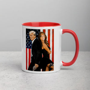 Mr. and Mrs. Trump 11oz Double Sided Mug with Color Inside - Flag and Cross