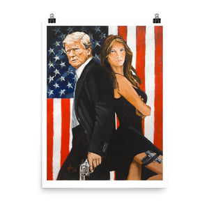 Mr. and Mrs. Trump Poster - Flag and Cross