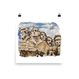 Mt. Rushmore Trump Poster - Flag and Cross