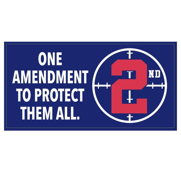 One Amendment to Protect Them All Weatherproof Bumper Sticker - Flag and Cross