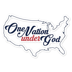 One Nation Under God Bubble-free stickers - Flag and Cross
