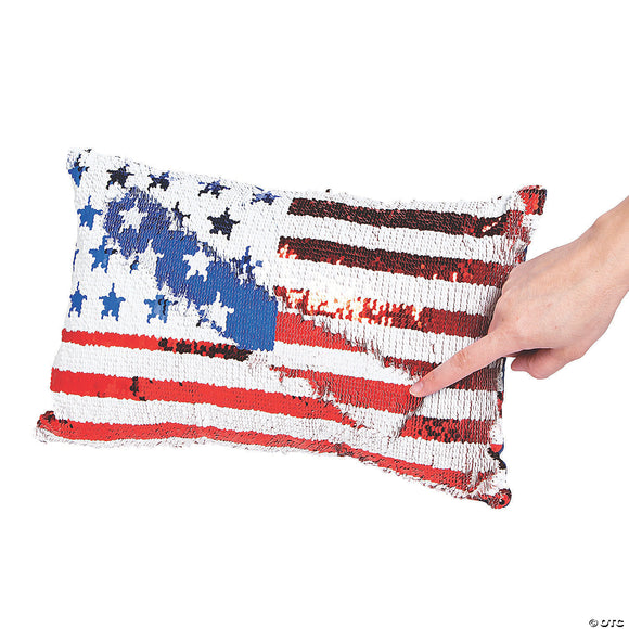 American Flag Sequin Pillow