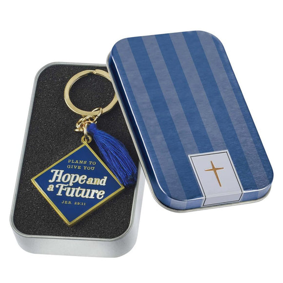 Hope and a Future Jeremiah 29:11 Graduation Keyring (w/ Tassel in Gift Tin)