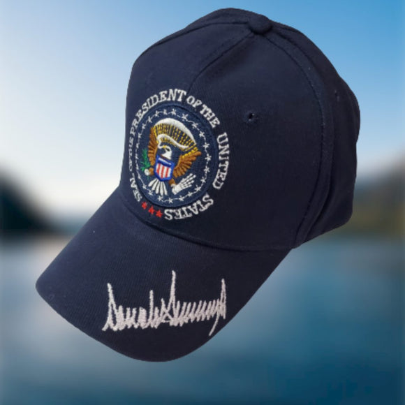 NAVY BLUE Trump Signature Presidential Seal Custom Embroidered Hat