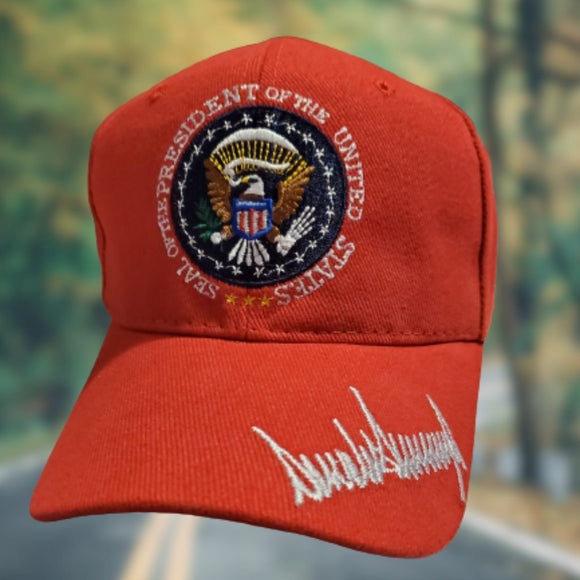 RED Trump Signature Presidential Seal Custom Embroidered Hat