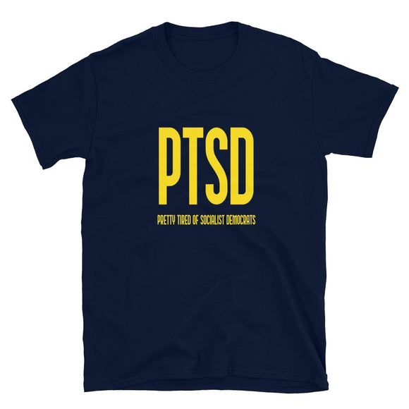 PTSD: Pretty Tired Of Socialist Democrats T-Shirt - Flag and Cross