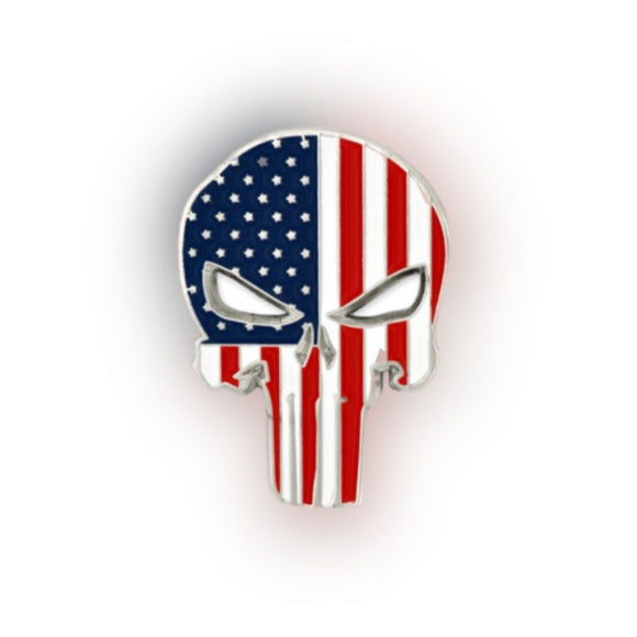 Stars and Stripes Patriotic Skull Pin (Silver Plated)